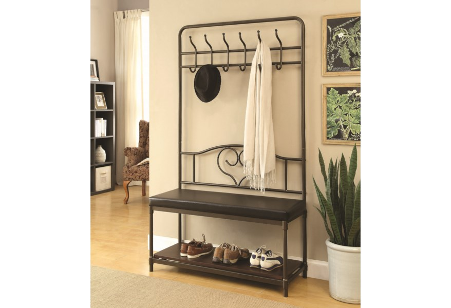 Coat Racks Hall Tree With Storage Bench By Coaster At Standard Furniture