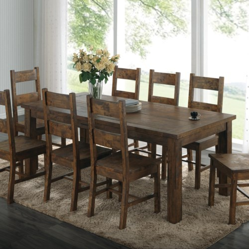 Fresh Coaster Coleman Rustic Dining Table with Over Sized Block Legs Luxury - Contemporary rustic dining room table and chairs Review