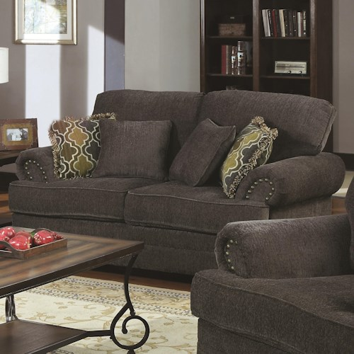 Coaster Colton Traditional Love Seat with Rolled Arms