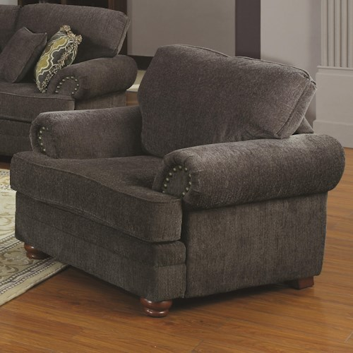 Coaster Colton Traditional Styled Living Room Chair with Comfortable Cushions