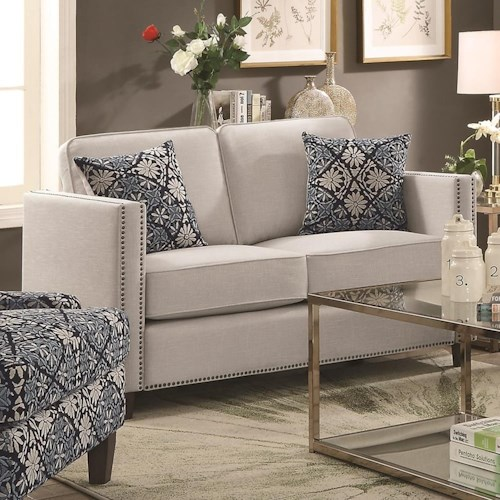 Coaster Coltrane Transitional Loveseat with Nail Head Trim