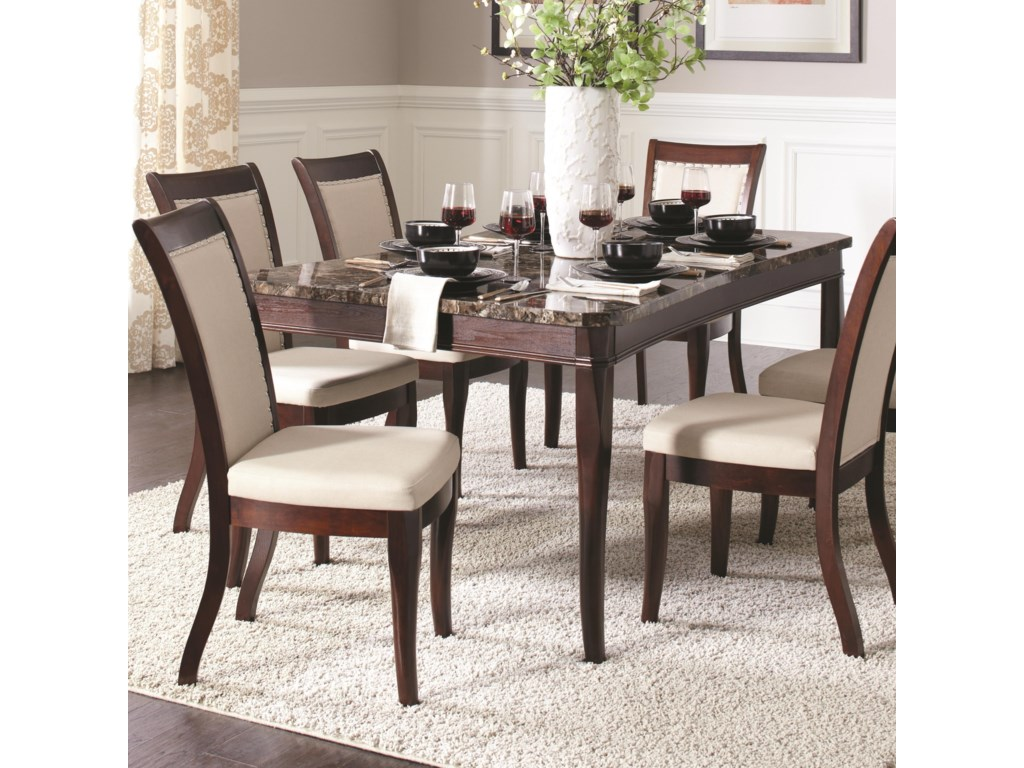 Cornett Rectangular Dining Table with Faux Stone Top by Coaster at  Furniture Superstore - Rochester, MN