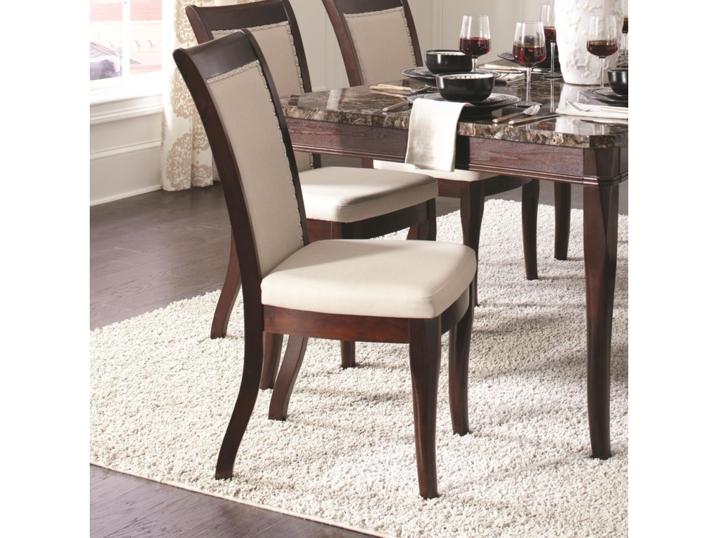 Cornett Upholstered White Leatherette Dining Chair By Coaster At Rife S Home Furniture