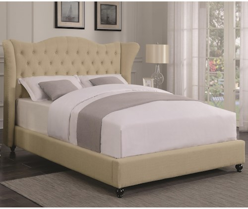 Coaster Coronado Transitional Upholstered Full Bed with Button Tufted Headboard