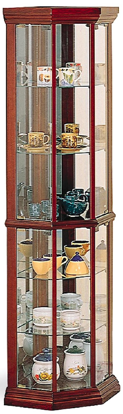 Coaster Curio Cabinets Solid Wood Cherry Gl Corner Cabinet