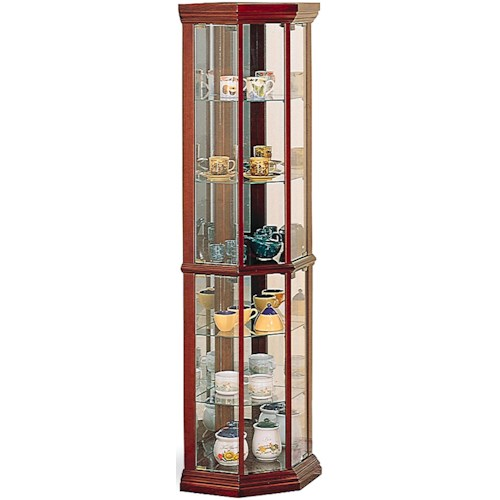 Coaster Curio Cabinets Solid Wood Cherry Glass Corner Curio Cabinet with 6 Shelves