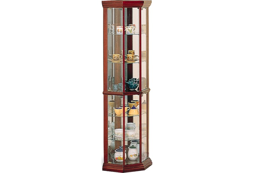 Solid Wood Cherry Gl Corner Curio