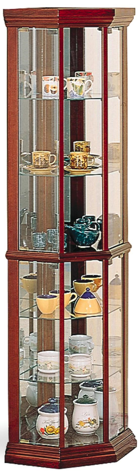 Superieur Coaster Curio Cabinets Solid Wood Cherry Glass Corner Curio Cabinet With 6  Shelves
