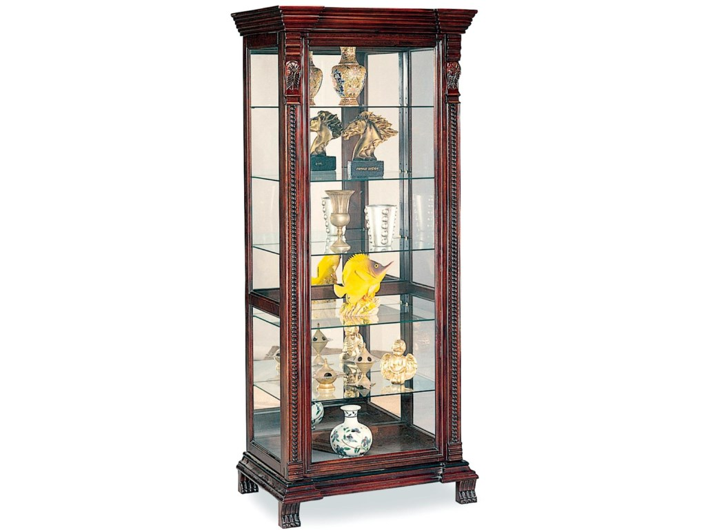 Curio Cabinets 6 Shelf Rectangular Cabinet With Ornate Edges Decorative Feet By Coaster