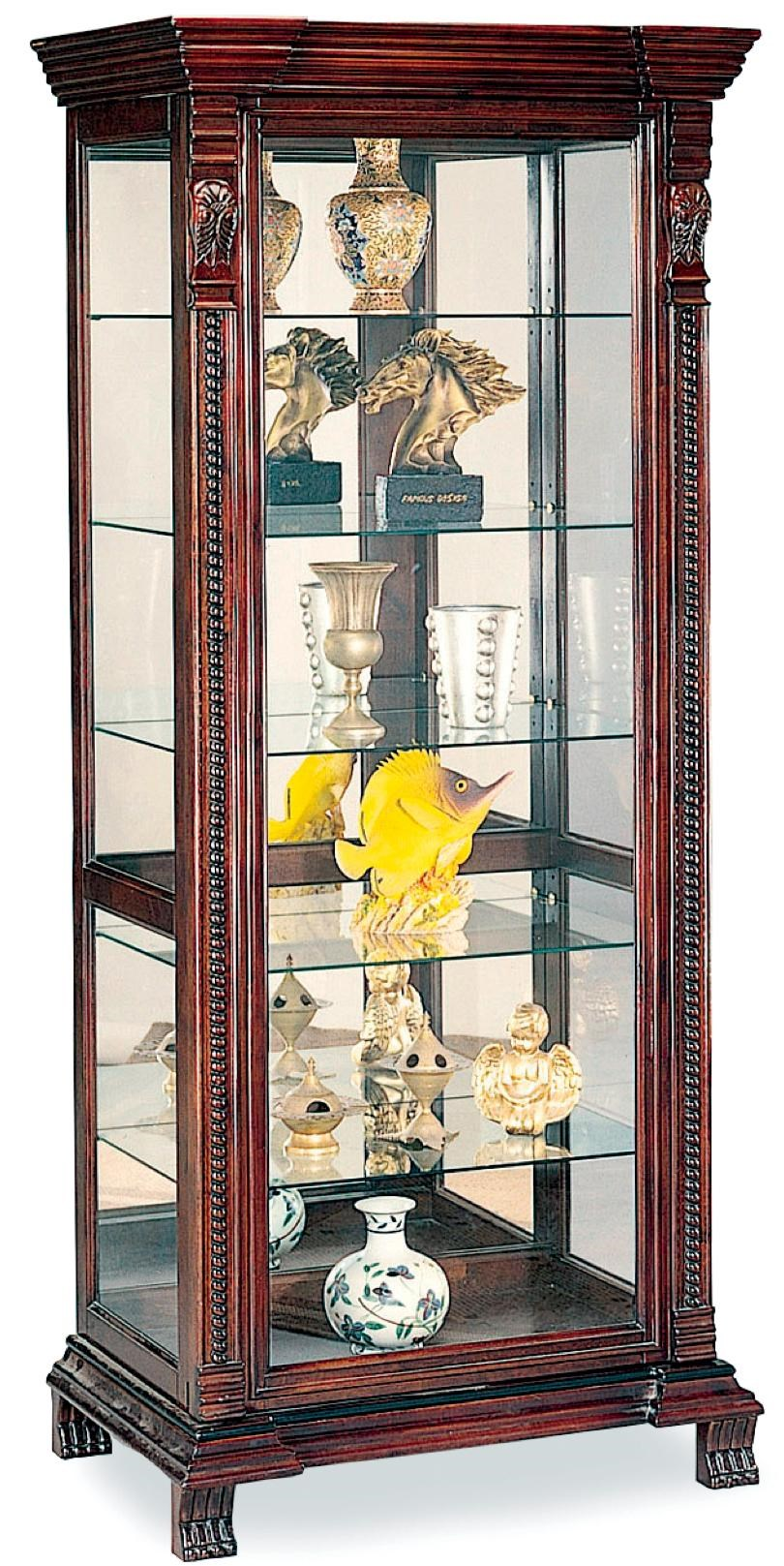 Curio Cabinets 6 Shelf Rectangular Curio Cabinet With Ornate Edges U0026  Decorative Feet By Coaster