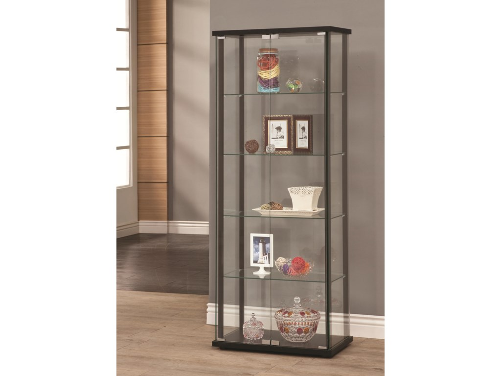 Curio Cabinets 5 Shelf Contemporary Gl Cabinet By Coaster