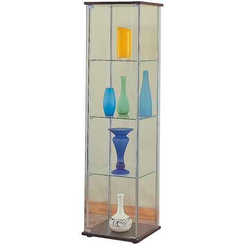 Coaster Curio Cabinets 4 Shelf Glass Curio Cabinet with Cappuccino Top & Bottom