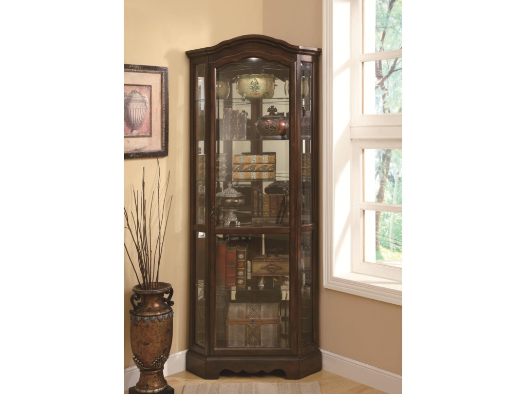 Coaster Curio Cabinets 5 Shelf Corner Cabinet With Shaped Crown Base