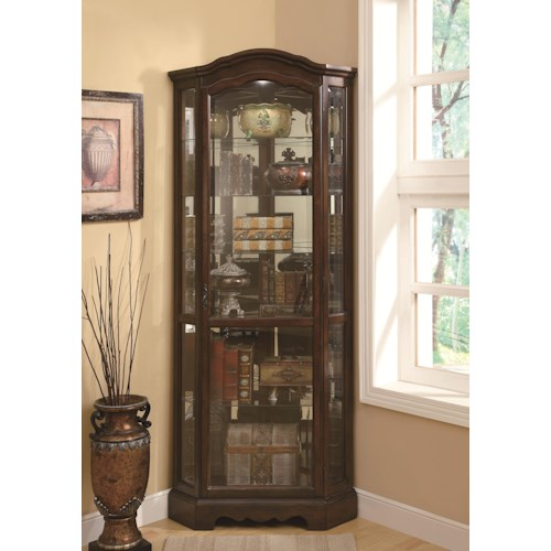 Coaster Curio Cabinets 5 Shelf Corner Curio Cabinet with Shaped Crown & Base