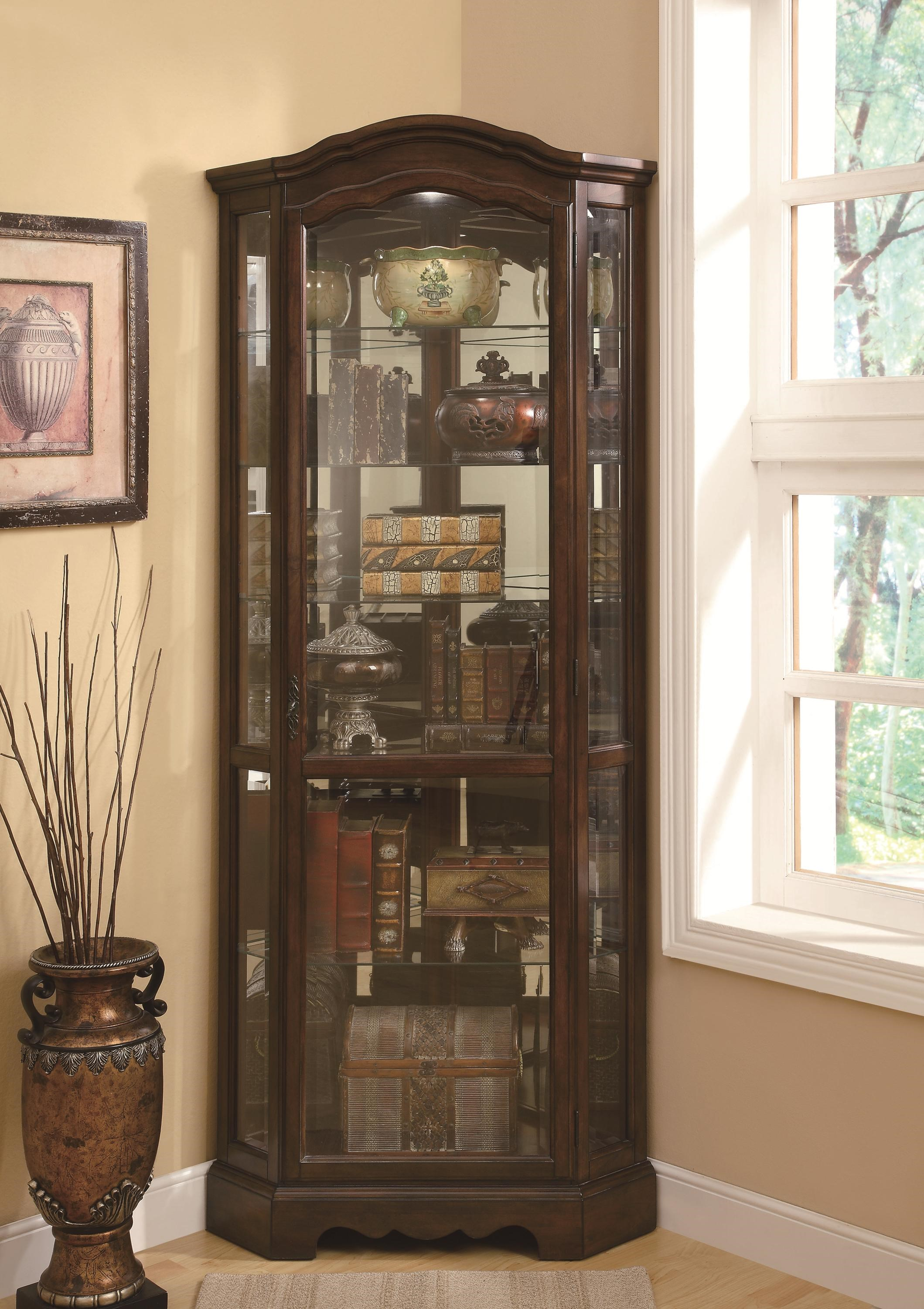 Coaster Curio Cabinets 5 Shelf Corner Curio Cabinet With Shaped Crown U0026 Base