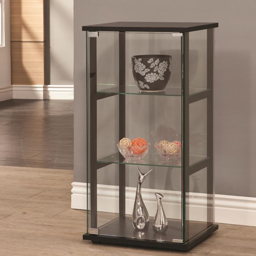 Coaster Curio Cabinets 3 Shelf Contemporary Glass Curio Cabinet
