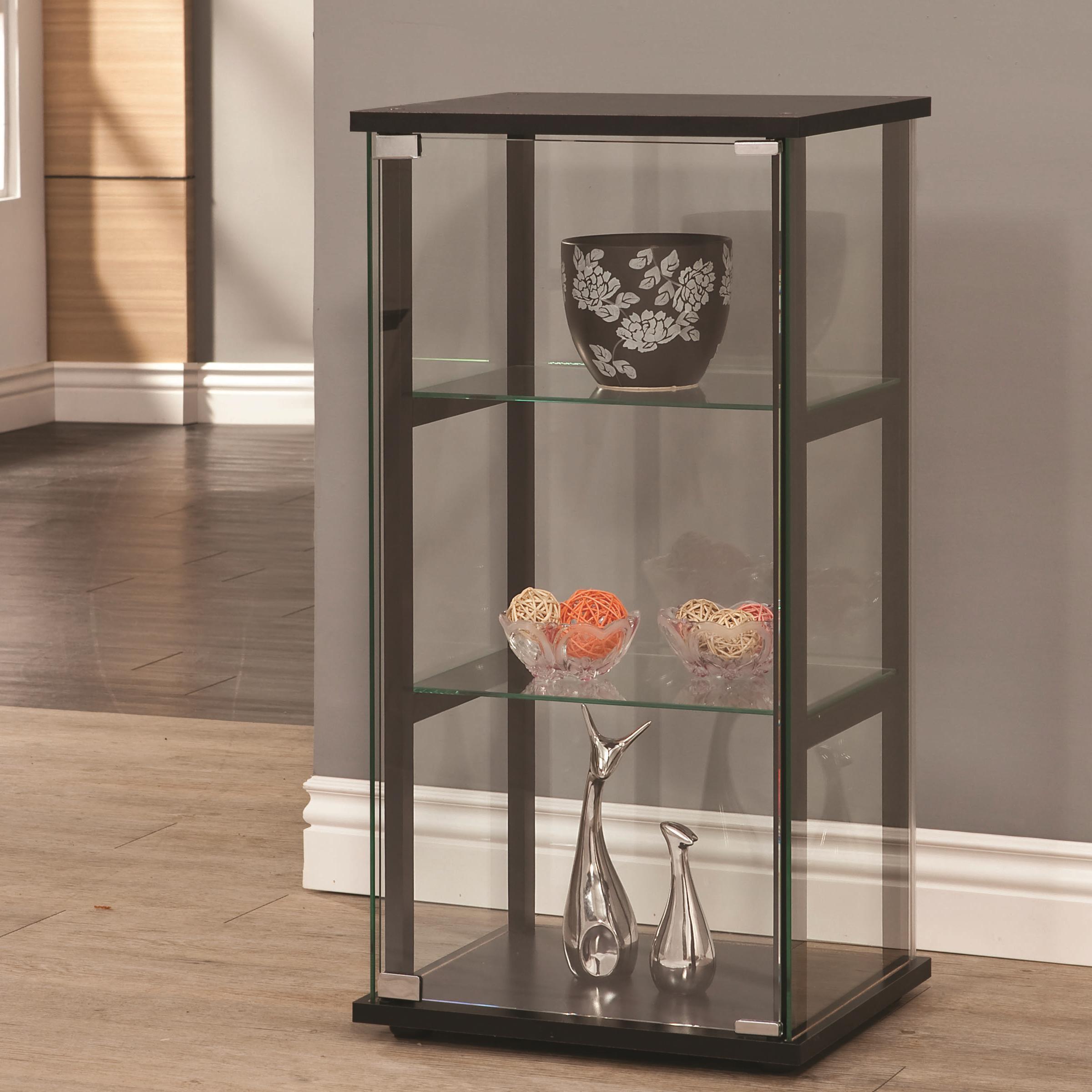 Curio Cabinets 3 Shelf Contemporary Glass Curio Cabinet By Coaster