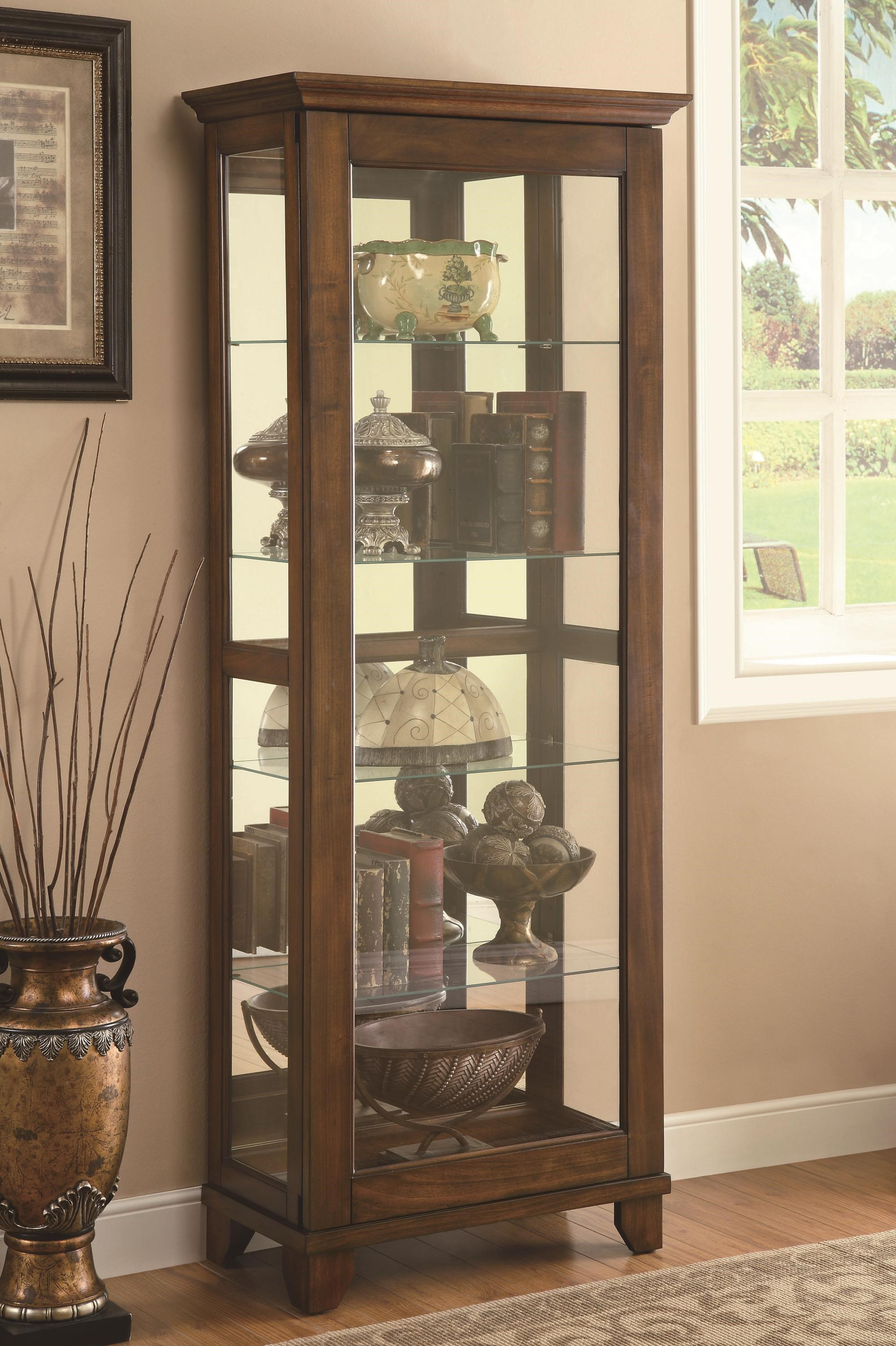 Coaster Curio Cabinets 5 Shelf Curio Cabinet With Warm Brown Finish U0026  Mirrored Back
