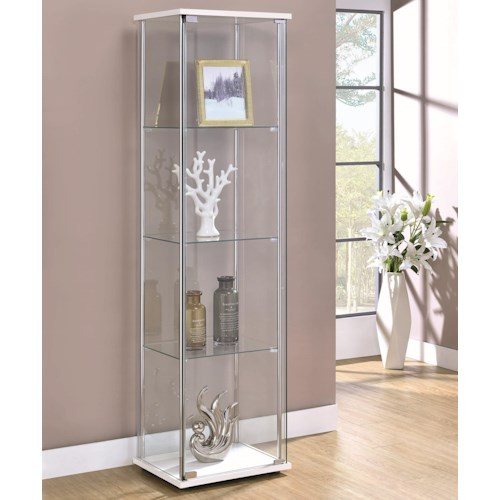 Coaster Curio Cabinets Contemporary White/Glass Curio Cabinet