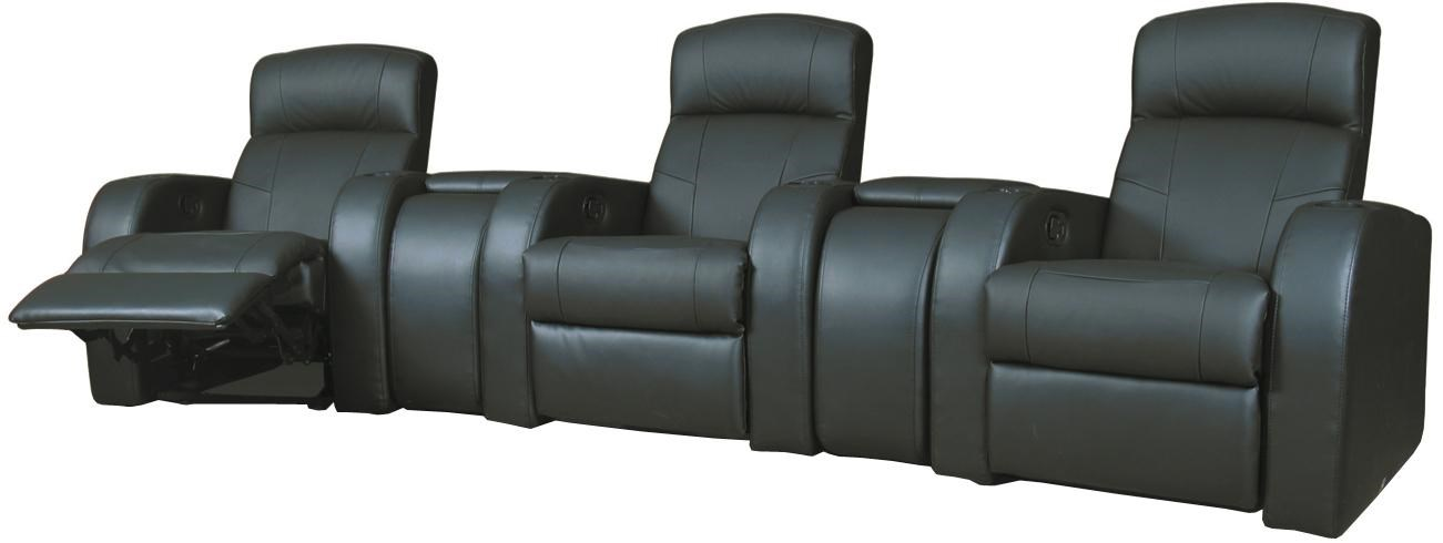 Contemporary Leather Theater Seating with Wedge Consoles
