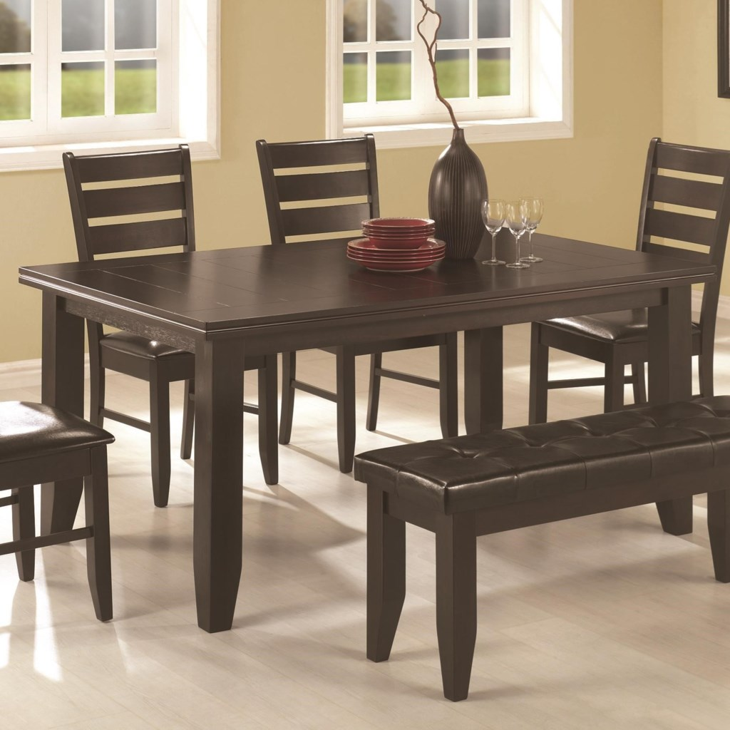 Coaster dalila 102721 casual dining table with tapered legs dunk bright furniture dining tables