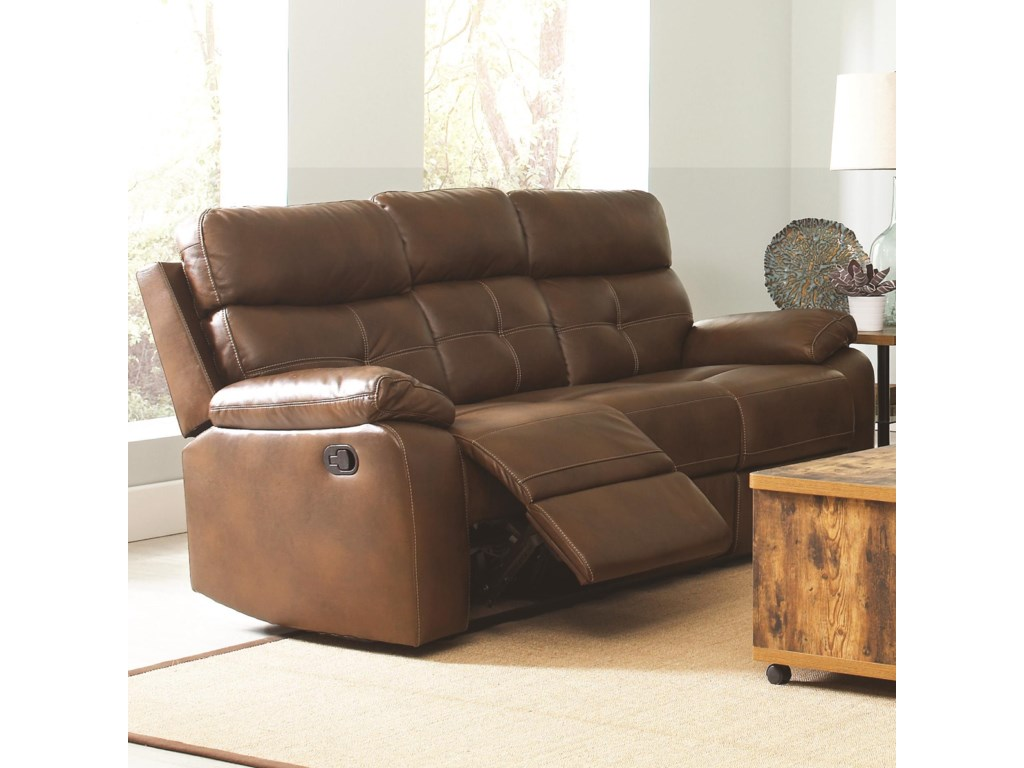 Coaster Damiano Casual Faux Leather Reclining Sofa With Button Tuft