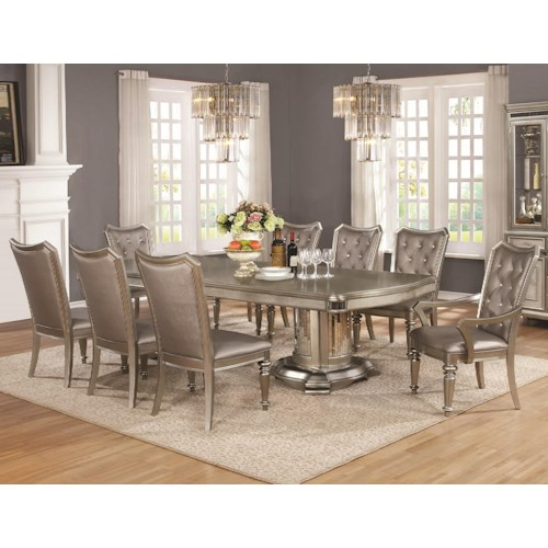 Coaster danette 9 piece table and chair set nassau for 9 piece dining room set with leaf