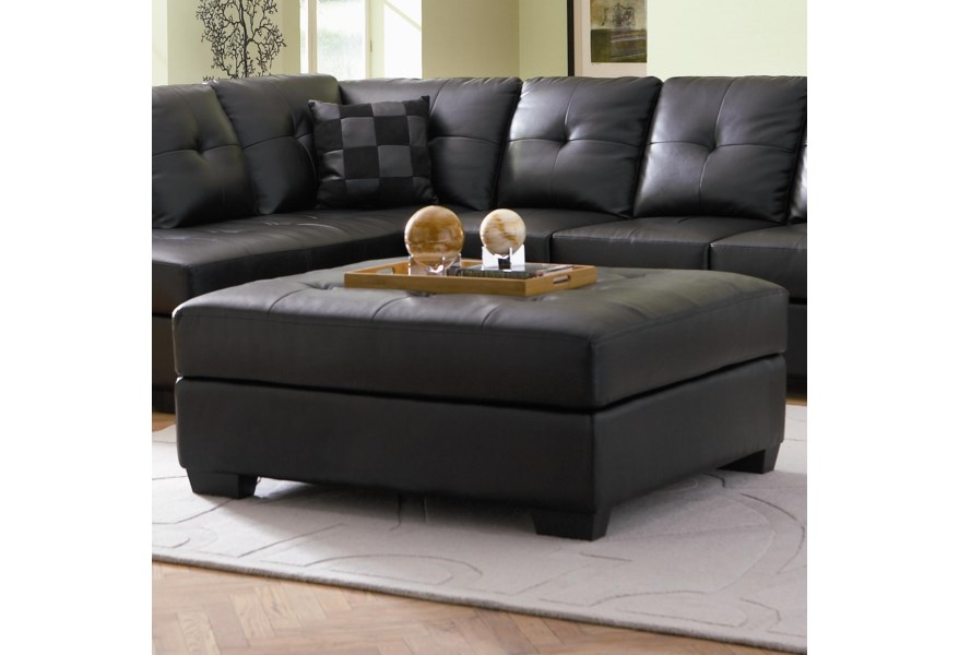 Coaster Darie 500607 Leather Cocktail Ottoman With Tufting Dunk