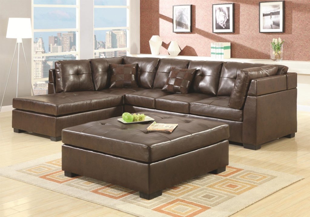 Coaster darie 500686 leather sectional sofa with left side chaise dunk bright furniture sectional sofas