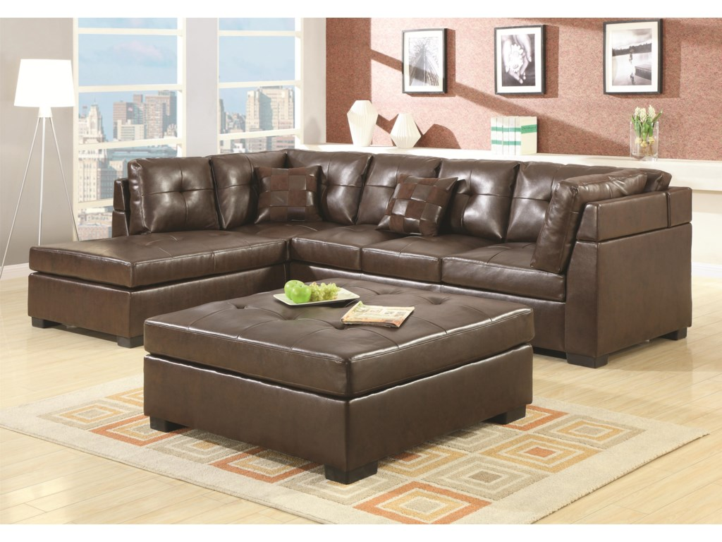 Darie Leather Sectional Sofa with Left-Side Chaise by Coaster at Value City  Furniture