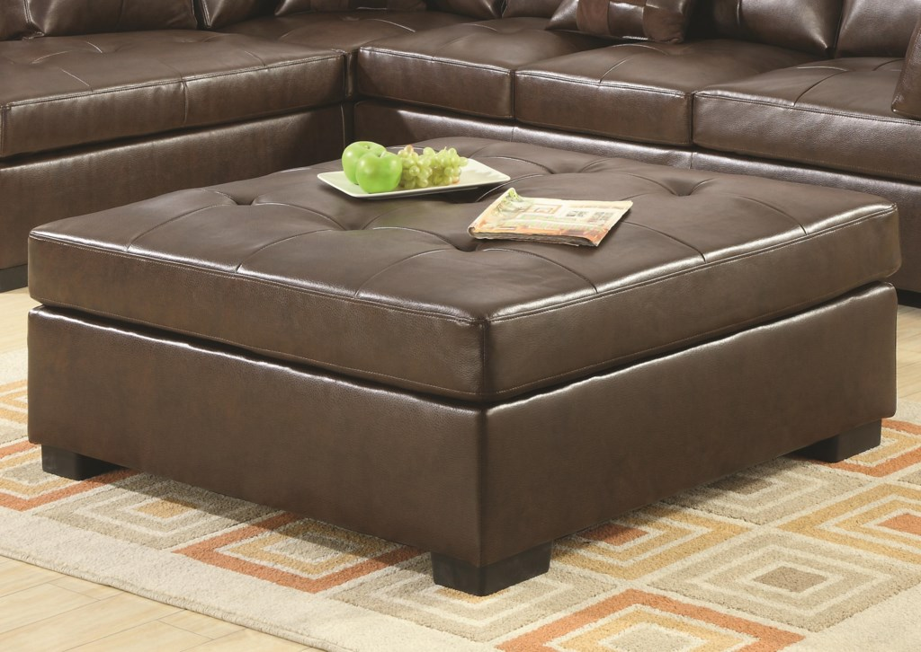 Leather cocktail ottoman with tufting by coaster home living room furniture ottomans coaster darie cocktail ottoman coaster dariecocktail ottoman