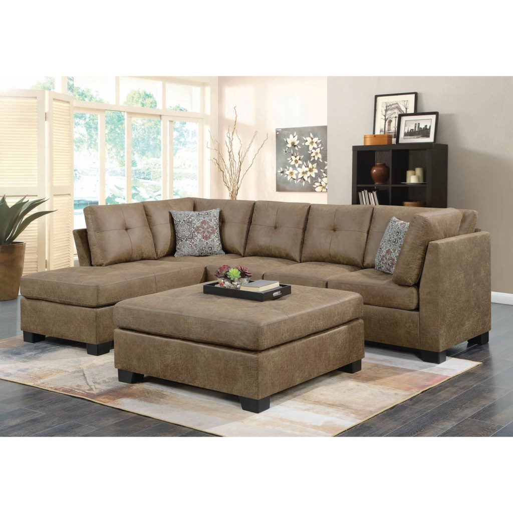 Coaster Darie 508528 Light Rustic Brown Microfiber Sectional With