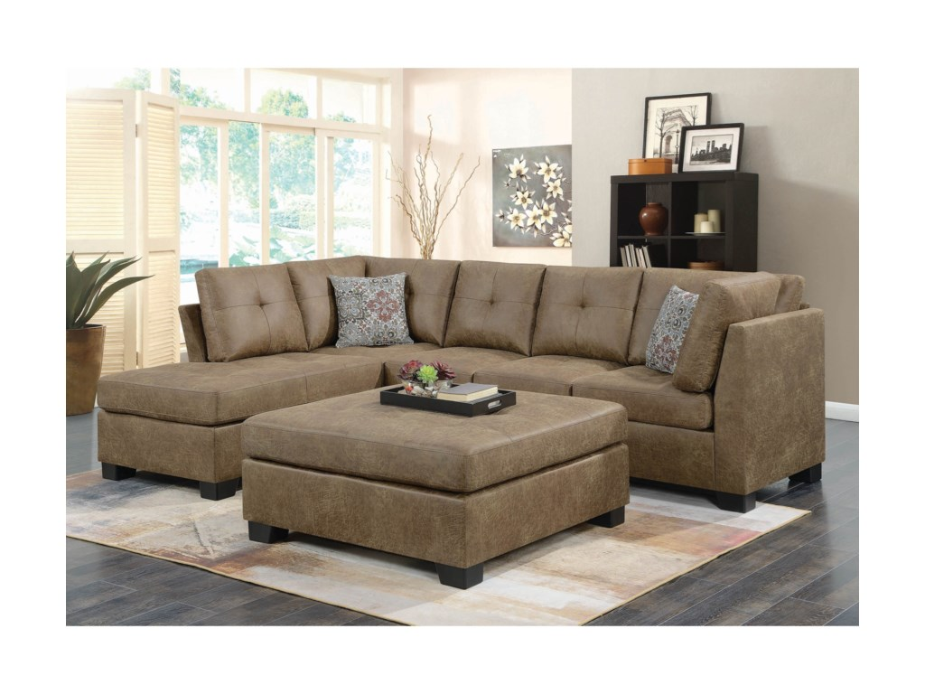 Coaster Darie Light Rustic Brown Microfiber Sectional With