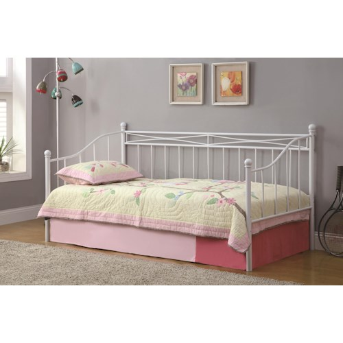 Coaster Daybeds by Coaster Casual Daybed with White Metal Frame