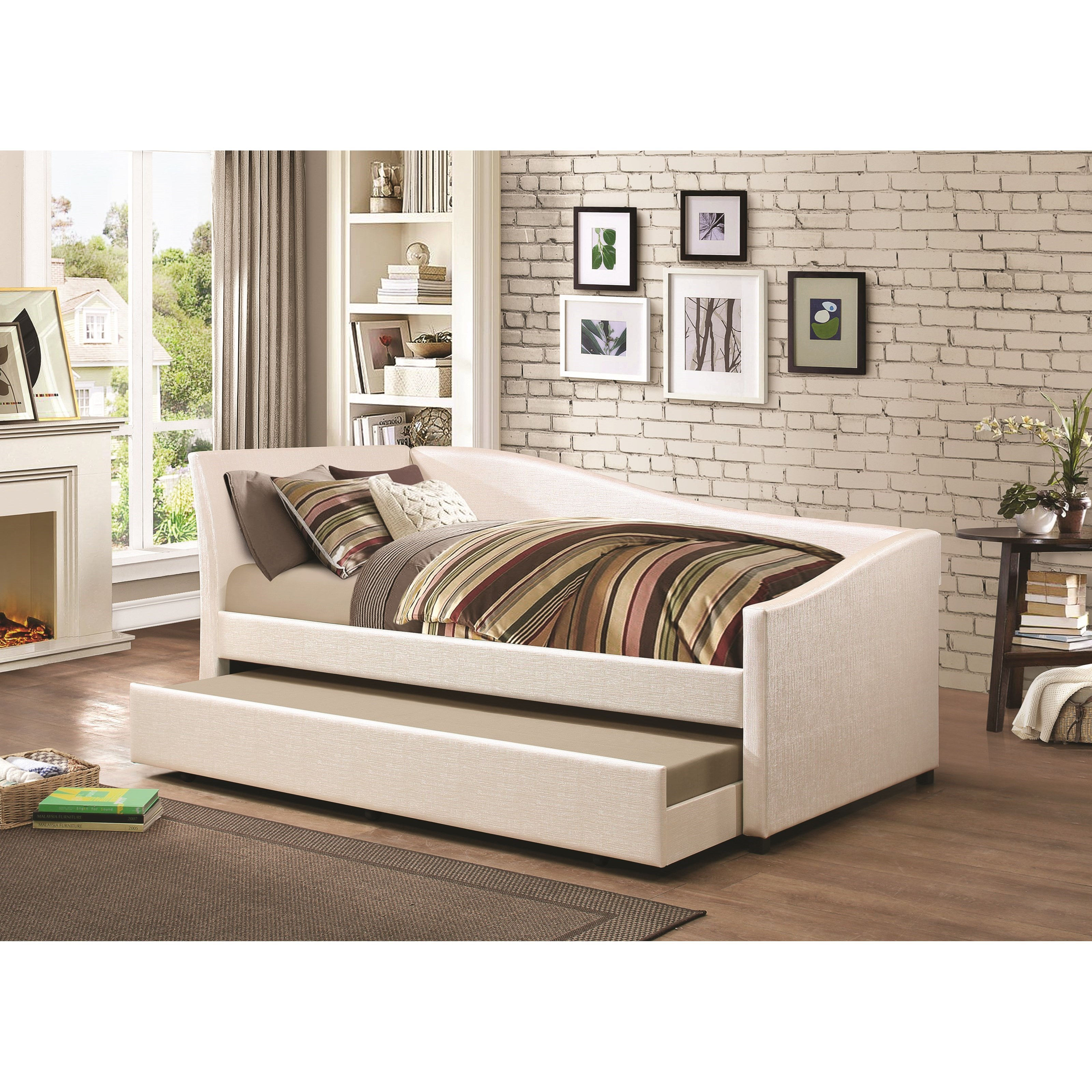 Coaster Daybeds By Coaster Twin Daybed With Upholstered Ivory Fabric And  Trundle