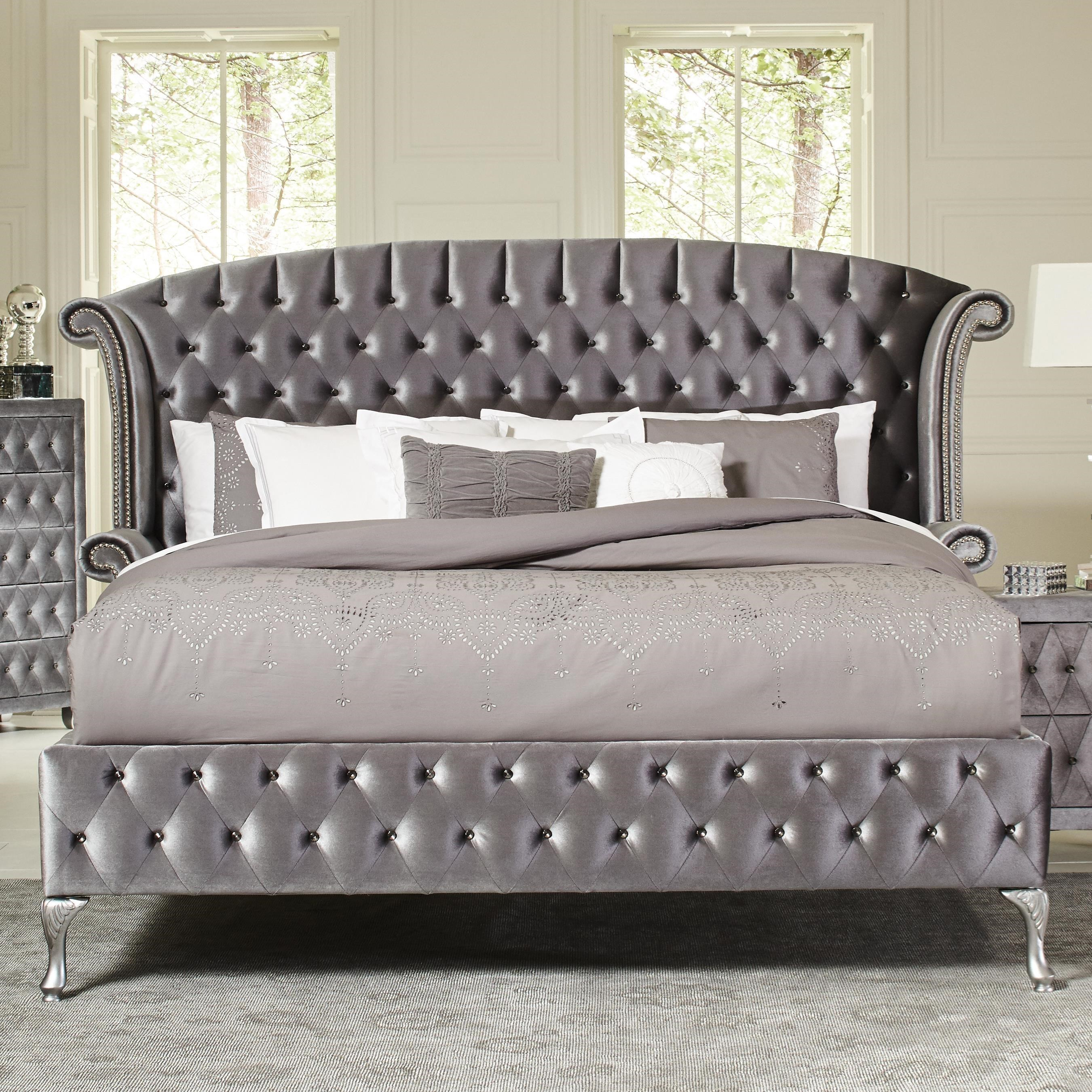coaster deanna upholstered queen bed with nailhead trim and button tufting - Upholstered Queen Bed