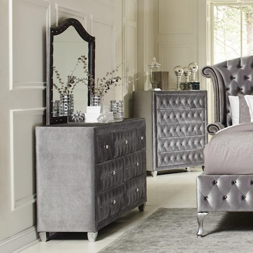 Coaster Deanna Upholstered Dresser and Mirror Set with Faceted Buttons