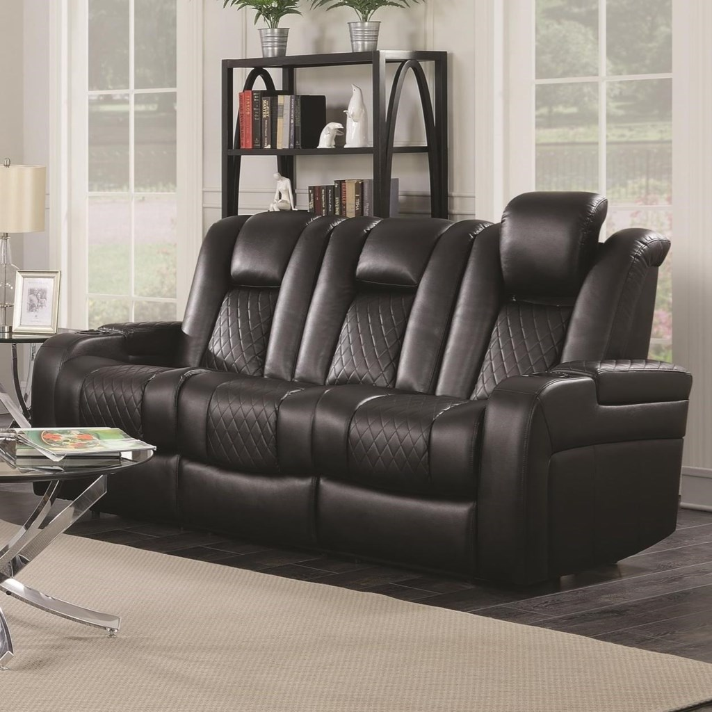 Coaster Delangelo 602301p Casual Power Reclining Sofa With Cup