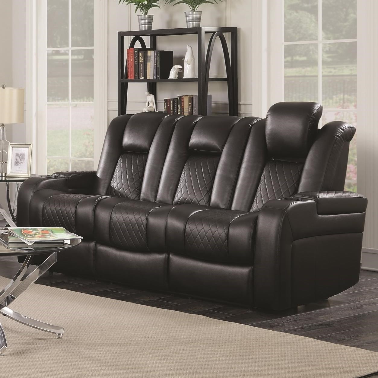 Charmant Coaster Delangelo Casual Power Reclining Sofa With Cup Holders, Storage  Console And USB Port