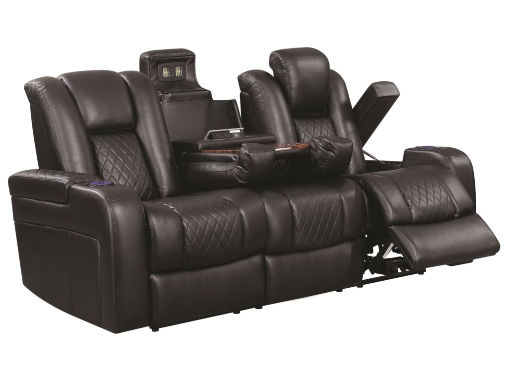 Delangelo Casual Power Reclining Sofa with Cup Holders, Storage Console and  USB Port by Coaster at Value City Furniture