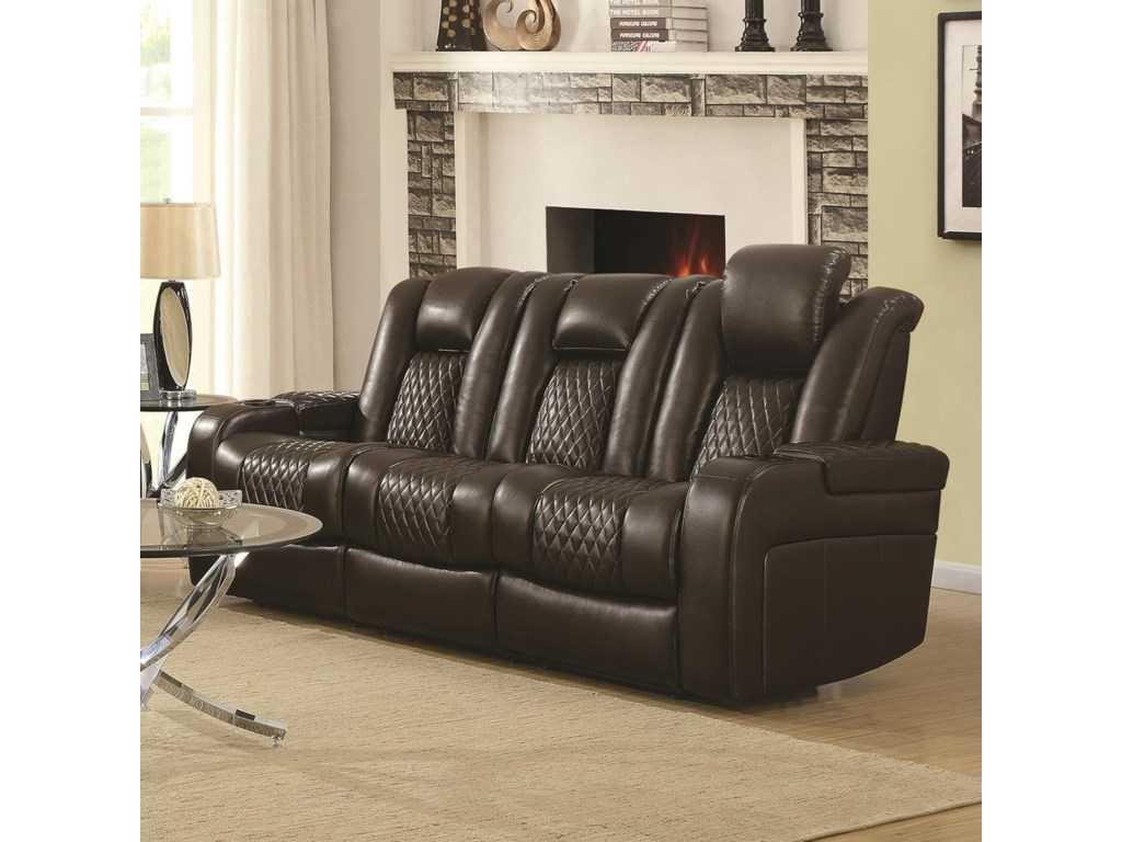 Coaster delangelo 602304p casual power reclining sofa with cup holders storage console and usb port becks furniture reclining sofas