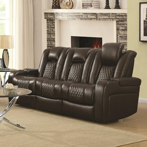 Coaster Delangelo Casual Power Reclining Sofa with Cup Holders, Storage Console and USB Port