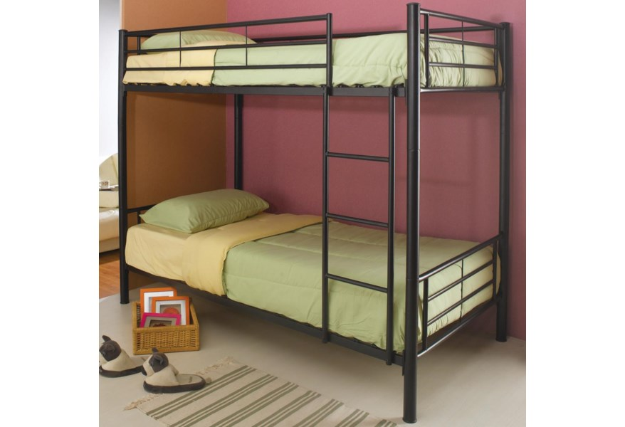 Coaster Denley Metal Twin Over Twin Bunk Bed Standard Furniture Bunk Beds