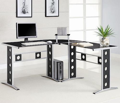 Coaster   Modern L Shape Desk with Silver Frame & Black Glass