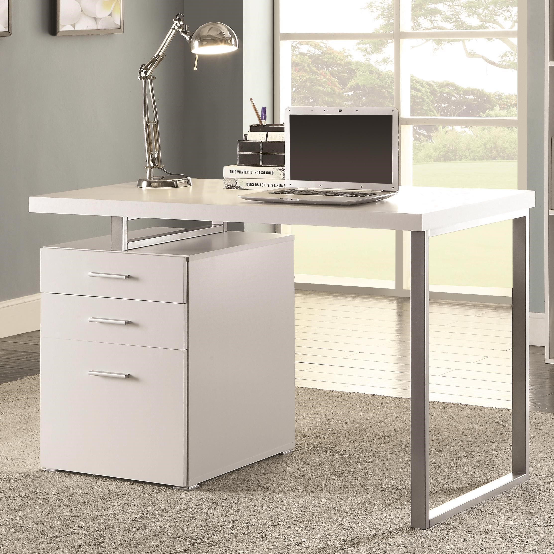 Coaster Writing Desk With File Drawer And Reversible Set Up