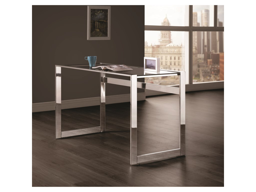 Coaster Contemporary Computer Desk With Chrome Legs Del Sol - Contemporary computer desk