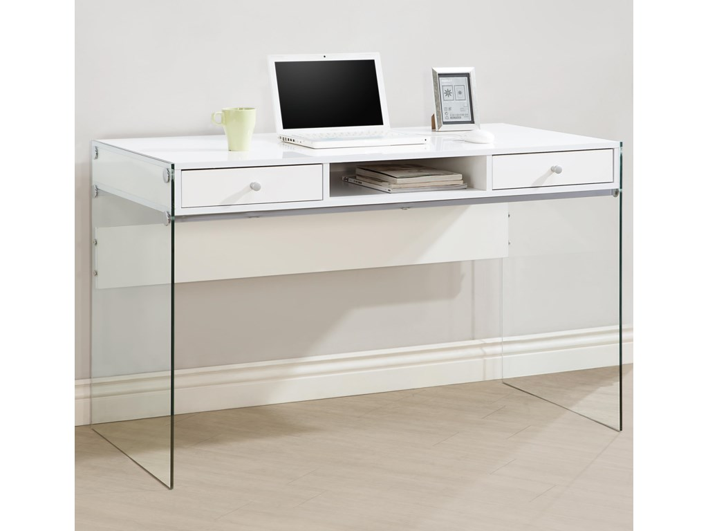buy popular e1474 2336c - Modern Computer Desk with Glass Sides by Coaster at Value City Furniture