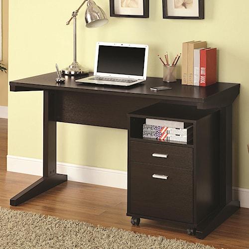 Coaster Desks 2 Piece Desk Set With Rolling File Cabinet