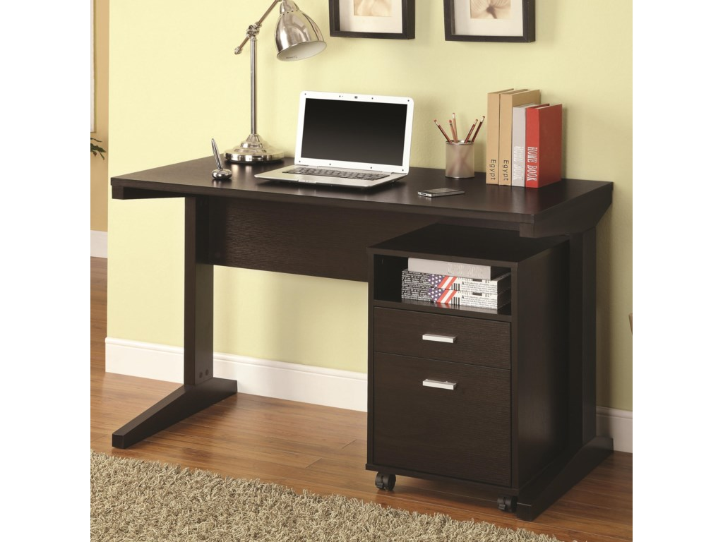 2 piece desk set with rolling file cabinet by coaster
