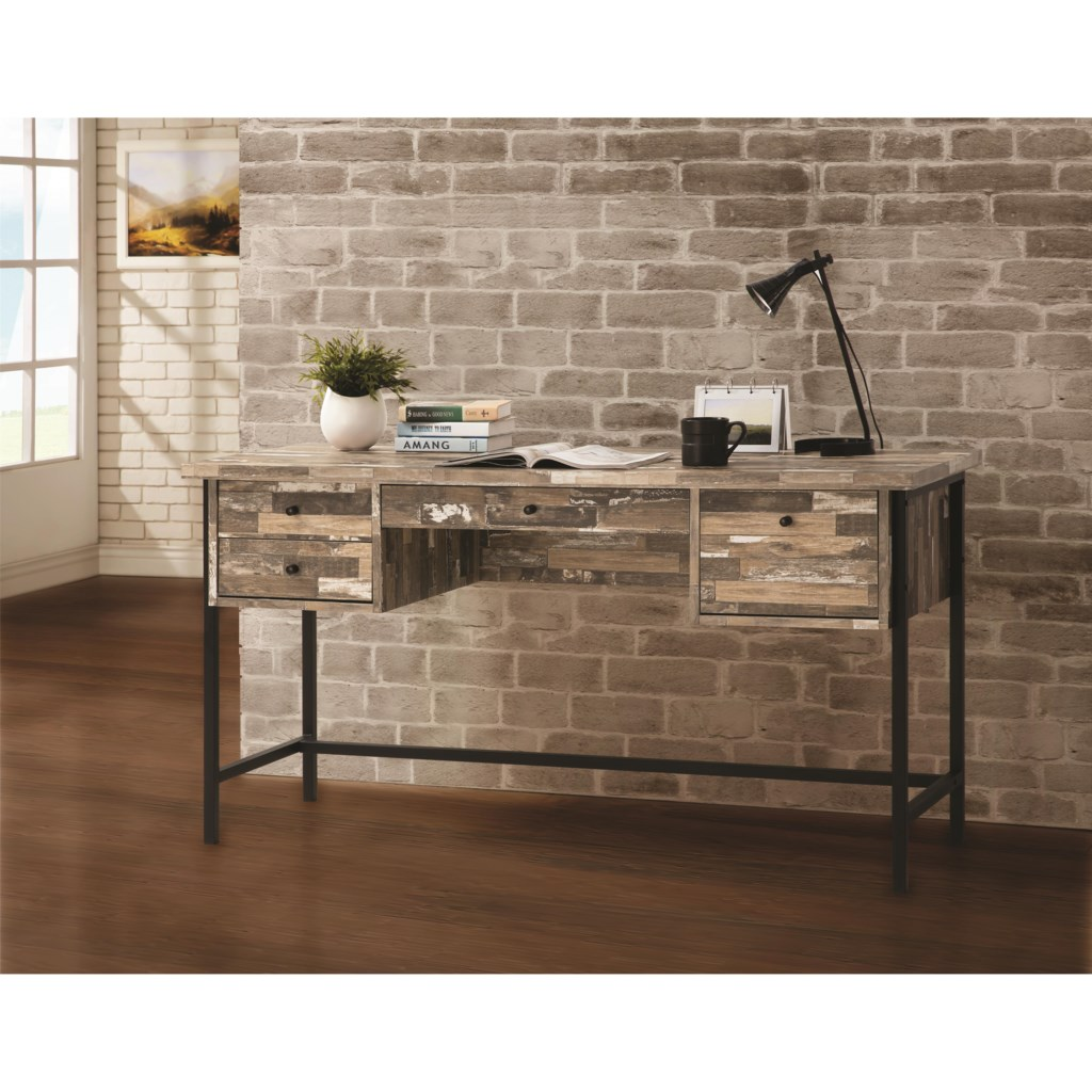Coaster 801235 rustic style writing desk with drawers dunk bright furniture table desks writing desks